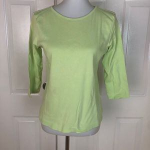 Lilly Pulitzer Women's Solid Green 3/4 Sleeve Top
